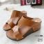 รองเท้าส้นเตารีดสีน้ำตาล หนัง pu LB-961-57-น้ำตาล thumbnail 2