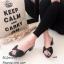 รองเท้าสวมส้นเหลี่ยมโบว์ E642-ดำ (สีดำ) thumbnail 1