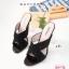พร้อมส่ง รองเท้าส้นแก้วหน้าไขว้ 17-2291-BLK [สีดำ] thumbnail 5