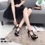 รองเท้าส้นสูงสีดำ งานสไตล์ YSL หนังแก้ว LB-K766-BLK thumbnail 2