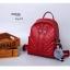กระเป๋าเป้ผู้หญิงหนัง pu เย็บลายข้ามหลามตัดด้านหน้า BAG-074-แดง (สีแดง) thumbnail 5