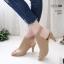 รองเท้าส้นสูงหน้าเต็มสีครีม งานสไตล์ปราด้า รัดข้อ LB-1202-ครีม thumbnail 1