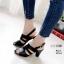 รองเท้าส้นสูงรัดส้นสีดำ LB-10164-ดำ thumbnail 2