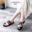 รองเท้าแตะแฟชั่นสีดำ ฉลุลาย อะไหล่กลม LB-N811-BLK thumbnail 3