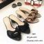 รองเท้าสวมส้นเหลี่ยมโบว์ E642-ดำ (สีดำ) thumbnail 3