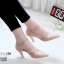 รองเท้าส้นสูงสีครีม ฉลุลาย รัดข้อ LB-10200-ครีม thumbnail 1