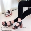 รองเท้าส้นตึกสไตล์เกาหลีสีดำ วัสดุหนังนิ่มแบบสวม 1630-ดำ thumbnail 2