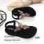 รองเท้าลำลองแบบคีบสีดำ วัสดุหนังนิ่ม SP001-ดำ thumbnail 2