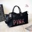 กระเป๋าแฟชั่นนำเข้า ปักเลื่อม PINK Style Victoria's secret BAI-1901-BLK (สีดำ) thumbnail 3