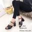 รองเท้าส้นตันรัดข้อสีดำ สไตล์ FT513-ดำ thumbnail 2