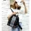 แบบมาใหม่ ทรงสุดฮิต กระเป๋าเป้ผู้หญิงผ้าไนล่อนลายสก๊อตคลาสสิค 868-ดำ (สีดำ) thumbnail 2