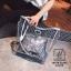 กระเป๋าแฟชั่นงานนำเข้าแบบวัสดุพลาสติกใสแต่งลาย MB18-02502-SIL (สีเงิน) thumbnail 2