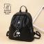 กระเป๋าสะพายเป้กระเป๋าถือ เป้แฟชั่นนำเข้าแพทเทินเรียบดูคลาสสิค MB-17067-BLK (สีดำ) thumbnail 2