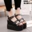 รองเท้าแบบสวมรัดข้อเปิดท้ายส้นตึกสีดำ LB-ST813-BLK thumbnail 2