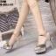 รองเท้าส้นสูงรัดข้อเปิดท้ายสีทอง LB-ST208-GLD thumbnail 4