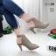 รองเท้าส้นสูงหน้าเต็มสีเทา งานสไตล์ปราด้า รัดข้อ LB-1202-เทา thumbnail 1