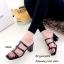 รองเท้าส้นสูงวัสดุหนังนิ่มสีดำ ดีไซน์งานเส้น 998-02-ดำ thumbnail 3