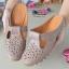 รองเท้าส้นเตี้ยสีกากี สลิปออนเปิดส้น 321-998-KHAKI thumbnail 3