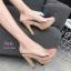 รองเท้าส้นสูงเปิดส้นสีชมพู ส้นไม้ หน้าใส LB-3006-92A-PNK thumbnail 2