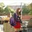 แบบมาใหม่ ทรงสุดฮิต กระเป๋าเป้ผู้หญิงผ้าไนล่อนสีสันสดใส 1185-ม่วง (สีม่วง) thumbnail 3