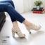 รองเท้าส้นสูงรัดส้นสีครีม LB-10164-ครีม thumbnail 2