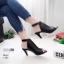 รองเท้าส้นสูงหน้าเต็มสีดำ งานสไตล์ปราด้า รัดข้อ LB-1202-ดำ thumbnail 1