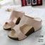 รองเท้าส้นเตารีดสีครีม หนัง pu LB-961-57-ครีม thumbnail 2