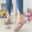 รองเท้าส้นเตี้ยสีกากี สลิปออนเปิดส้น 321-998-KHAKI thumbnail 1