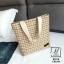 กระเป๋าแฟชั่นนำเข้าวัสดุผ้าทอลาย B9018-CRM (สีครีม) thumbnail 5