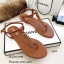รองเท้าแตะวัสดุหนังนิ่มแบบคีบสีแทน Style 5534-แทน thumbnail 1