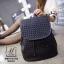 กระเป๋าเป้แฟชั่นนำเข้าพิมพ์ลายแบบสานสวยเก๋ส์ MB18-01703-BLK (สีดำ) thumbnail 4
