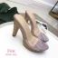 รองเท้าส้นสูงเปิดส้นสีชมพู ส้นไม้ หน้าใส LB-3006-92A-PNK thumbnail 3