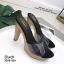 รองเท้าส้นสูงเปิดส้นสีดำ ส้นไม้ หน้าใส LB-3006-92A-BLK thumbnail 3