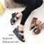 รองเท้าส้นเตารีดรัดข้อสีดำ หนังเงา 7797-4-ดำ thumbnail 5