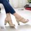 รองเท้าส้นสูงรัดส้นสีน้ำตาล LB-10164-น้ำตาล thumbnail 1
