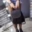 กระเป๋าเป้แฟชั่นนำเข้าพิมพ์ลายแบบสานสวยเก๋ส์ MB18-01703-BLK (สีดำ) thumbnail 5