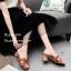 รองเท้าแตะสไตล์Hสีตาล ส้นเหลี่ยม J331-ตาล thumbnail 3