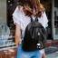 กระเป๋าสะพายเป้กระเป๋าถือ เป้แฟชั่นนำเข้าแพทเทินเรียบดูคลาสสิค MB-17067-BLK (สีดำ) thumbnail 5