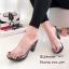 รองเท้าส้นสูงหน้าใสสีเทา พื้นลายดอก 7801-7-เทา thumbnail 3