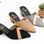 พร้อมส่ง รองเท้าส้นตัน เปิดหลังแบบสวม ทรงหน้าเหลี่ยม NF85-76-BLK [สีดำ] thumbnail 3