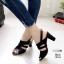 รองเท้าส้นสูงรัดส้นสีดำ LB-10164-ดำ thumbnail 1