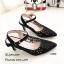รองเท้าคัทชูรัดข้อทรงหัวแหลมสีดำ วัสดุหนัง CA028-ดำ thumbnail 3