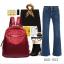 กระเป๋าเป้ผู้หญิงผ้าไนล่อนอย่างดี กันน้ำได้ BAG-052-แดง (สีแดง) thumbnail 5
