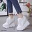 รองเท้าผ้าใบเสริมส้นสีขาว รองเท้าผ้าใบเสริมส้นสูง2นิ้ว thumbnail 3