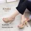 รองเท้าแตะส้นสูงแบบสวมไขว้ 3006-5-กากี (สีกากี)