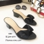 รองเท้าสวมส้นเหลี่ยมโบว์ E642-ดำ (สีดำ) thumbnail 4