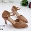 รองเท้าส้นสูงสีครีม ฉลุลาย รัดข้อ LB-10200-ครีม thumbnail 3