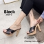รองเท้าแตะส้นสูงแบบสวมไขว้ 3006-5-ดำ (สีดำ)