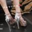 พร้อมส่ง รองเท้าส้นสูง วัสดุหนังแววเงา 17-1283-SIL [สีเงิน] thumbnail 3