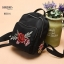 แบบขายดี กระเป๋าเป้ผู้หญิงปักลายแมงปอ และลายกุหลาบ BED35-แดง (สีแดง) thumbnail 3